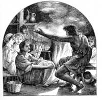 Engraving of early storytelling